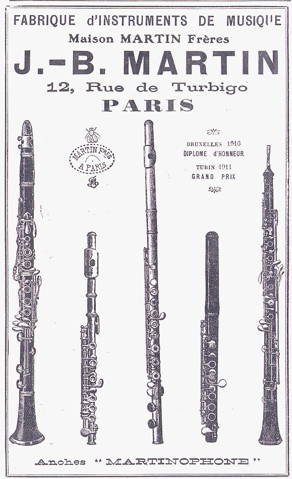 advertisement 1913 AD vintage oboe flute piccolo martinophone j b martin